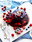 Prosecco Jelly with Cherries and Berries