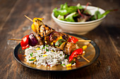 Chicken vegetable Kebabs with rice