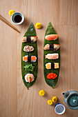 Sushi Platter served on Sasa leaves