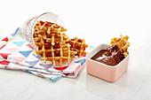 Waffle bites with chocolate dip