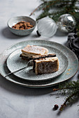 A vegan variation of traditional Slovenian Christmas cake with layers of poppyseeds, quark, nuts and plum compote