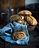 Vegan Franzbrötchen (North German cinnamon pastries) made from yeast dough