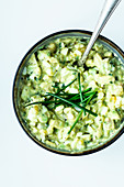 Avocado egg salad with chives