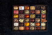 Various spices in seedling trays