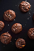 Soft chocolate cookies with salt flakes