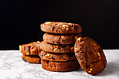 A pile of chocolate cookies