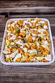 Conchiglie rigate with Hokkaido pumpkin, mozzarella and rosemary