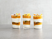 Apricot and yoghurt trifle with pistachio nuts (low carb)