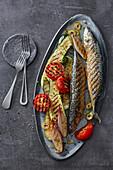 Grilled mackerel with Mediterranean vegetables