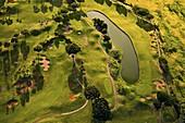 Golf course, aerial photograph