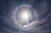 22-degree solar halo and contrails