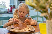 Matzo with chocolate spread