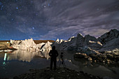 Photographing the night sky over a glacier