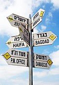Directions sign, Golan Heights