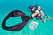 Scuba diver collecting plastic waste