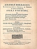 'Opera Posthuma' (1673) by Jeremiah Horrocks