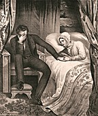 A distraught man with his dying wife, illustration