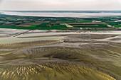 Estuary and farmland, aerial photograph
