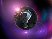 Dark matter with question mark, illustration