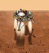InSight lander touching down on Mars, illustration