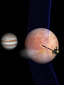 Galileo spacecraft at Europa and Jupiter, illustration