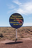 Road sign for Barringer meteor crater, Arizona, USA