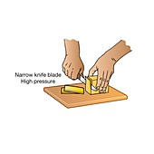 Pressure exerted by a sharp knife, illustration