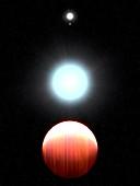 Kepler-13Ab exoplanet and host stars, illustration