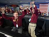 Mars InSight team celebrating landing