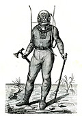 19th Century diver, illustration