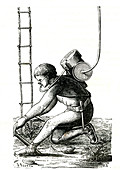 19th Century diver, illustration