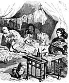 19th Century opium smokers, illustration
