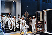 Apollo 11 crew at transport to launch pad, July 1969