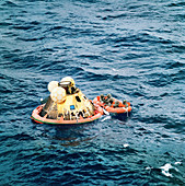 Apollo 11 recovery after splashdown, 1969