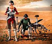 Mars exploration, illustration