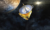 New Horizons spacecraft at Pluto, illustration