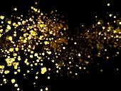 Golden particles, illustration