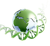 DNA strand and planet earth, illustration