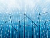 Wind turbine reflected on solar panels, illustration