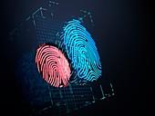 Digital fingerprint scanning, illustration