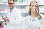 Woman in pharmacy