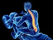 Illustration of a biker's spine