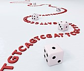 DNA and dice, illustration
