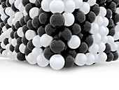 Glossy black and white spheres, illustration