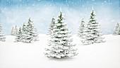 Christmas winter landscape, illustration