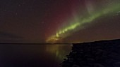 Aurora over lagoon, timelapse