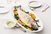 Trout en papillote with parsley sauce