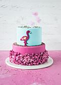 A festive flamingo fondant cake
