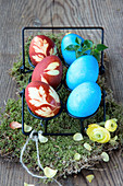 Easter eggs decorated with leaves and blue Easter eggs