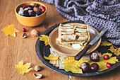 Slices of a apple walnut pie